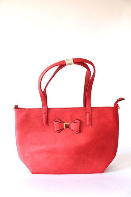 Црвена женска ташна со панделка - Бутик Црвенкапа ! Најдобри ! Најевтини !